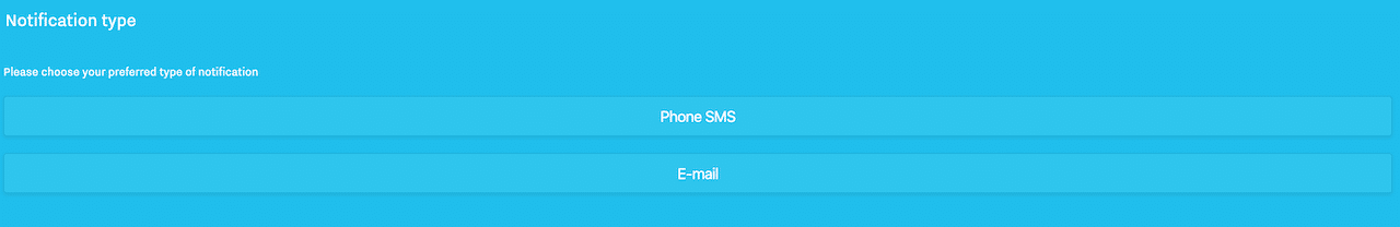1 SMS or email