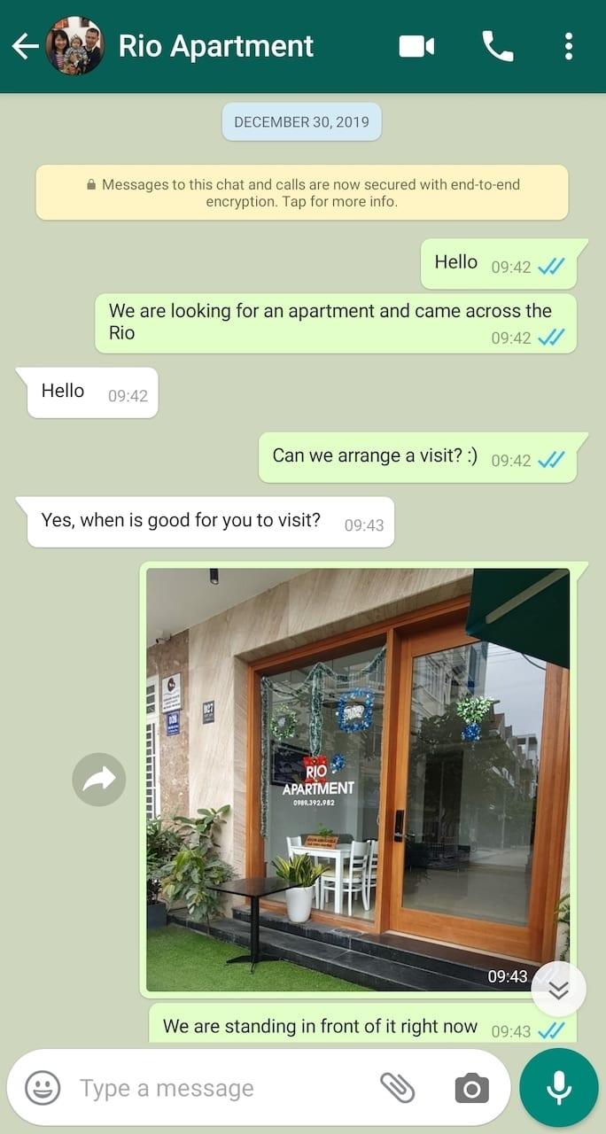 da nang apartment hunting using whatsapp