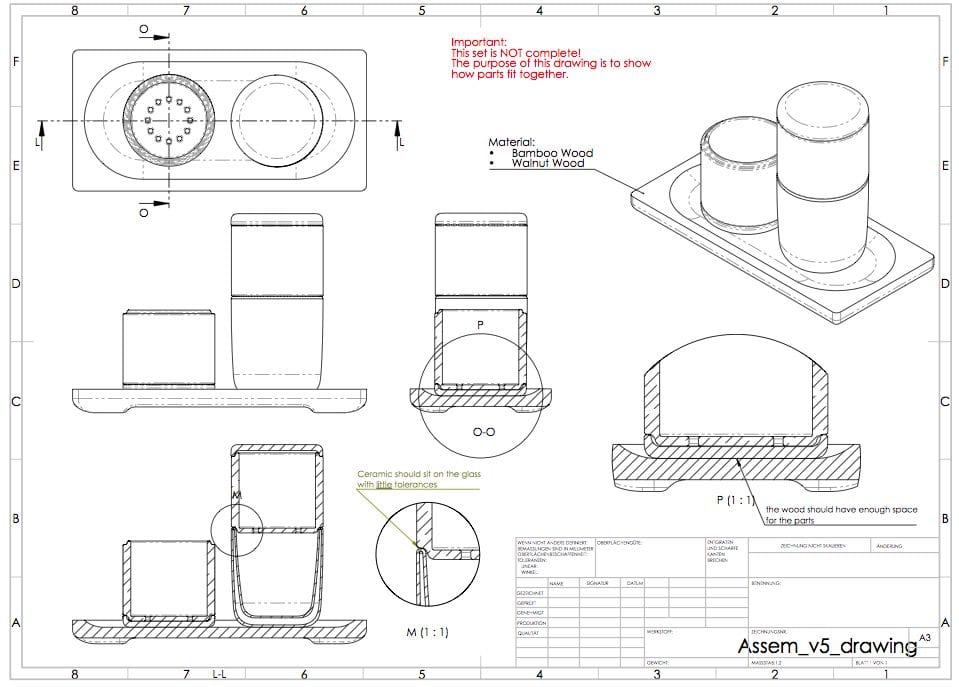 physical product technical drawing