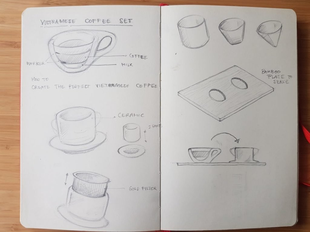 vietnamese coffee filter idea first sketch