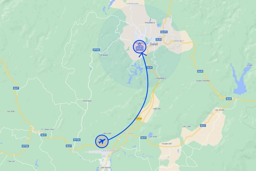 Da lat map airport to city